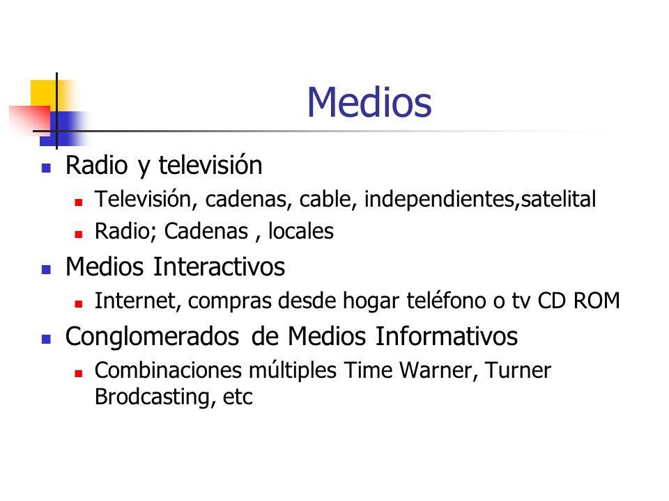 Medios Radio y televisión Televisión, cadenas, cable, independientes,satelital Radio; Cadenas, locales Medios Interactivos Internet, compras desde hogar teléfono o tv CD ROM Conglomerados de Medios Informativos Combinaciones múltiples Time Warner, Turner Brodcasting, etc