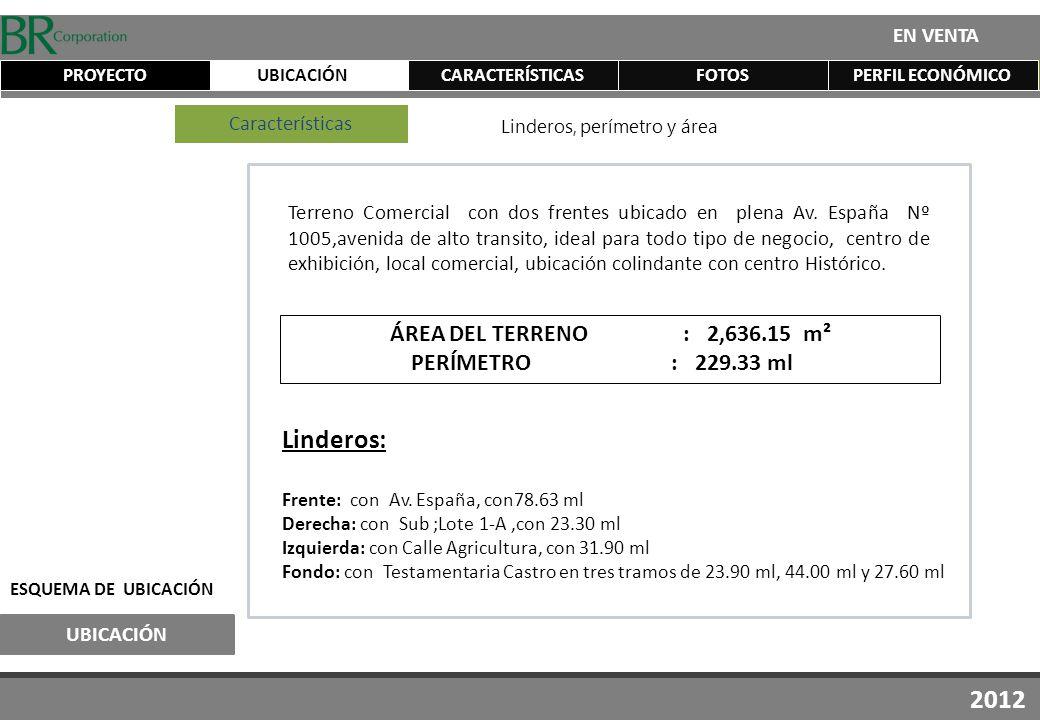 UBICACIÓN EN VENTA CARACTERÍSTICASFOTOSPERFIL ECONÓMICOPROYECTO UBICACIÓN ESQUEMA DE UBICACIÓN 2012 Terreno Comercial con dos frentes ubicado en plena Av.