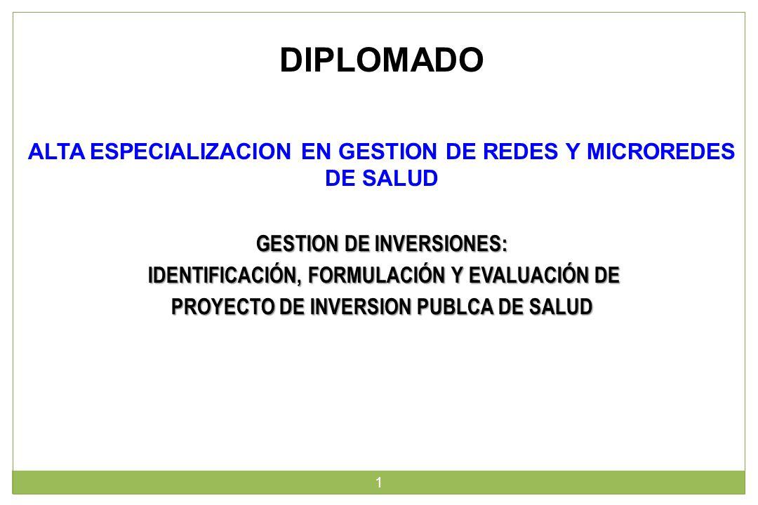 GESTION DE INVERSIONES: IDENTIFICACIÓN, FORMULACIÓN Y EVALUACIÓN DE IDENTIFICACIÓN, FORMULACIÓN Y EVALUACIÓN DE PROYECTO DE INVERSION PUBLCA DE SALUD 1 DIPLOMADO ALTA ESPECIALIZACION EN GESTION DE REDES Y MICROREDES DE SALUD
