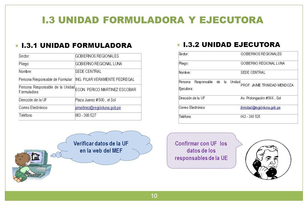 I.3 UNIDAD FORMULADORA Y EJECUTORA  I.3.1 UNIDAD FORMULADORA  I.3.2 UNIDAD EJECUTORA Confirmar con UF los datos de los responsables de la UE Verificar datos de la UF en la web del MEF 10