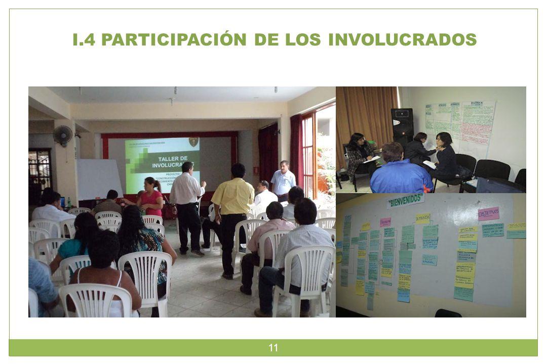 I.4 PARTICIPACIÓN DE LOS INVOLUCRADOS 11