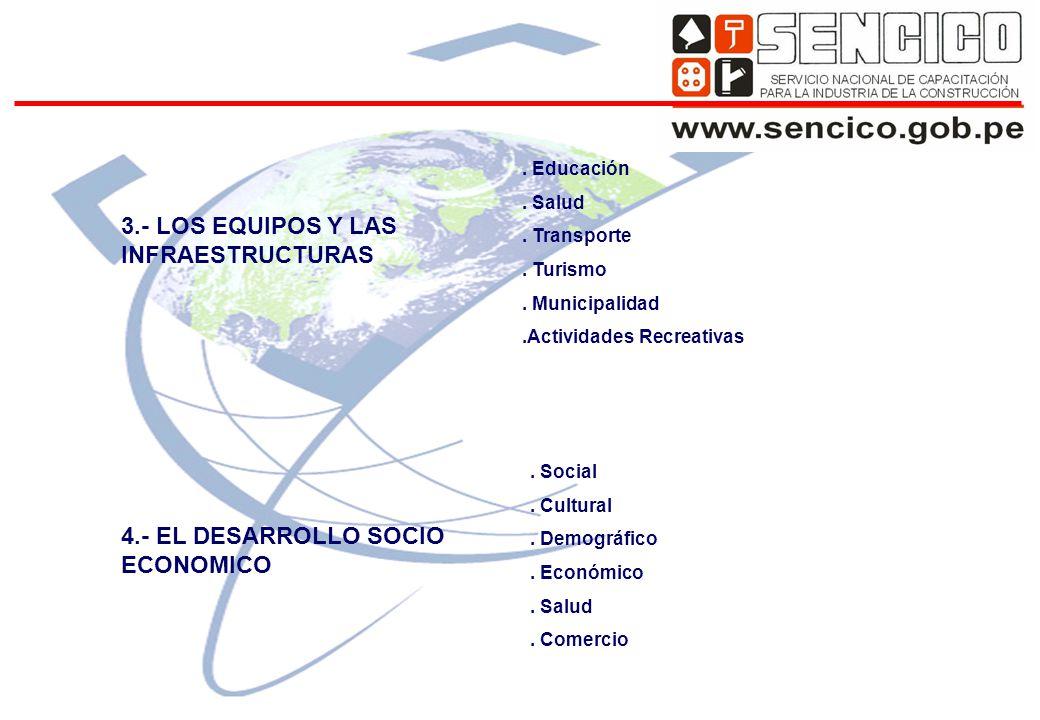 3.- LOS EQUIPOS Y LAS INFRAESTRUCTURAS 4.- EL DESARROLLO SOCIO ECONOMICO.