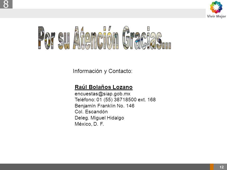 12 8 Información y Contacto: Raúl Bolaños Lozano encuestas@siap.gob.mx Teléfono: 01 (55) 38718500 ext.