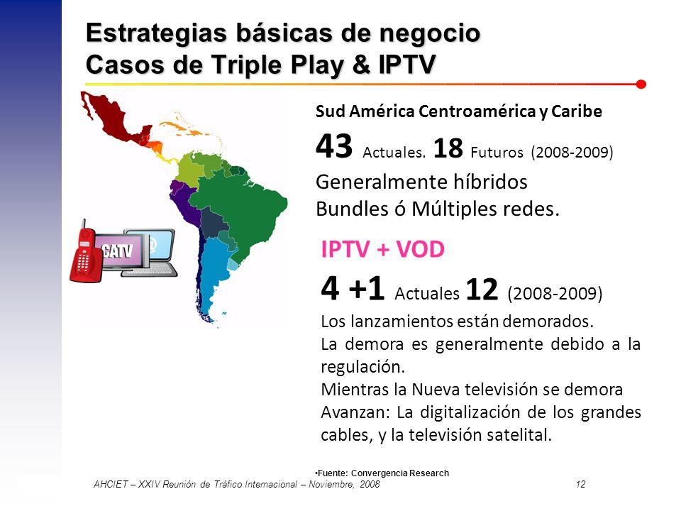 AHCIET – XXIV Reunión de Tráfico Internacional – Noviembre, 2008 12 Estrategias básicas de negocio Casos de Triple Play & IPTV Sud América Centroamérica y Caribe 43 Actuales.