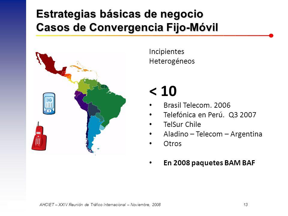 AHCIET – XXIV Reunión de Tráfico Internacional – Noviembre, 2008 13 Estrategias básicas de negocio Casos de Convergencia Fijo-Móvil Incipientes Heterogéneos < 10 Brasil Telecom.
