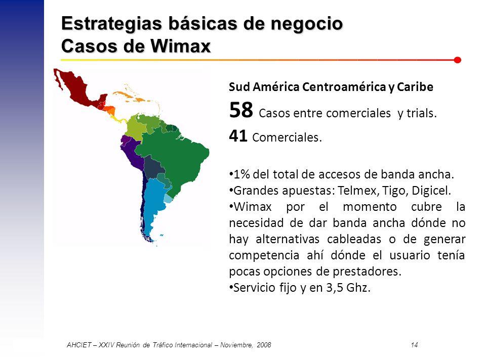 AHCIET – XXIV Reunión de Tráfico Internacional – Noviembre, 2008 14 Estrategias básicas de negocio Casos de Wimax Sud América Centroamérica y Caribe 58 Casos entre comerciales y trials.