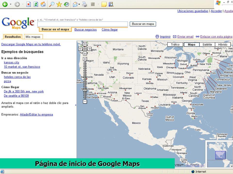 Página de inicio de Google Maps