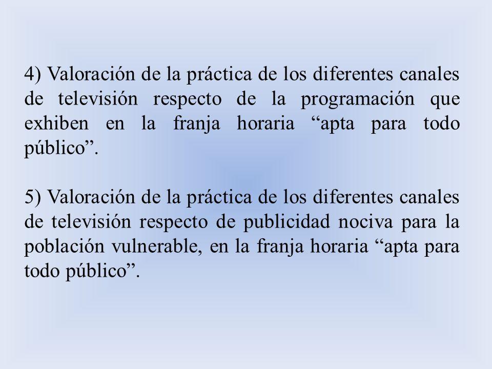 4) Valoración de la práctica de los diferentes canales de televisión respecto de la programación que exhiben en la franja horaria apta para todo público .