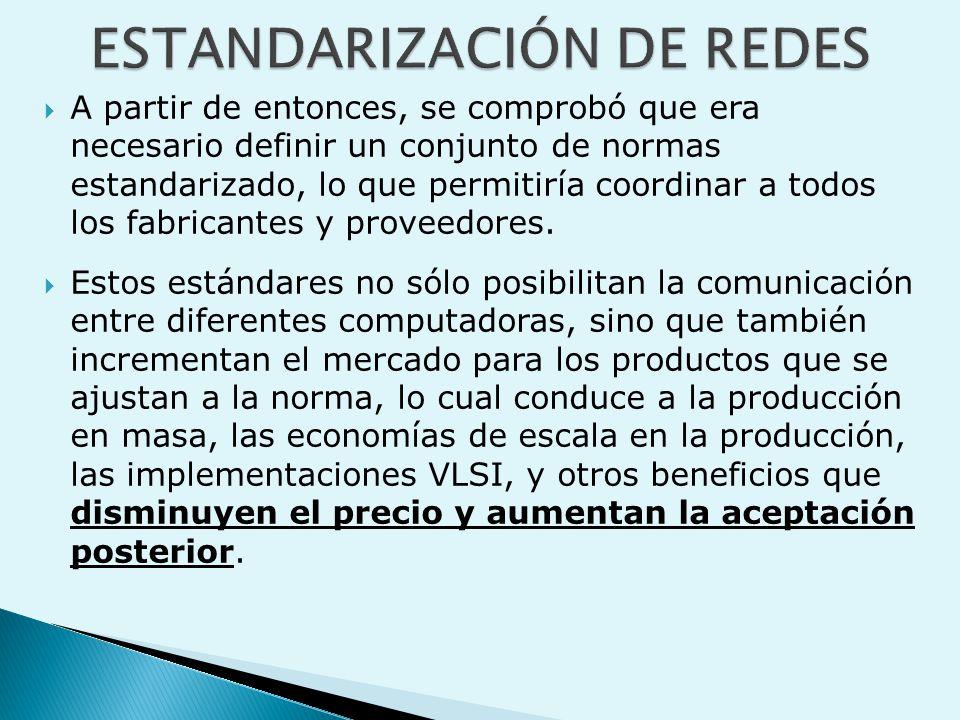  A partir de entonces, se comprobó que era necesario definir un conjunto de normas estandarizado, lo que permitiría coordinar a todos los fabricantes y proveedores.