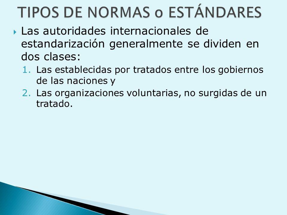  Las autoridades internacionales de estandarización generalmente se dividen en dos clases: 1.Las establecidas por tratados entre los gobiernos de las naciones y 2.Las organizaciones voluntarias, no surgidas de un tratado.