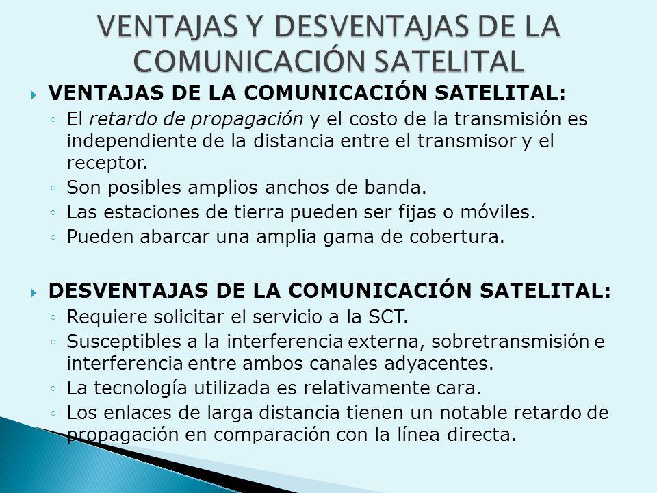  VENTAJAS DE LA COMUNICACIÓN SATELITAL: ◦El retardo de propagación y el costo de la transmisión es independiente de la distancia entre el transmisor y el receptor.
