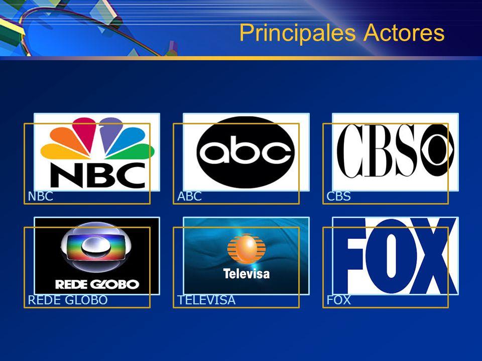 Principales Actores NBCABCCBS REDE GLOBOTELEVISAFOX