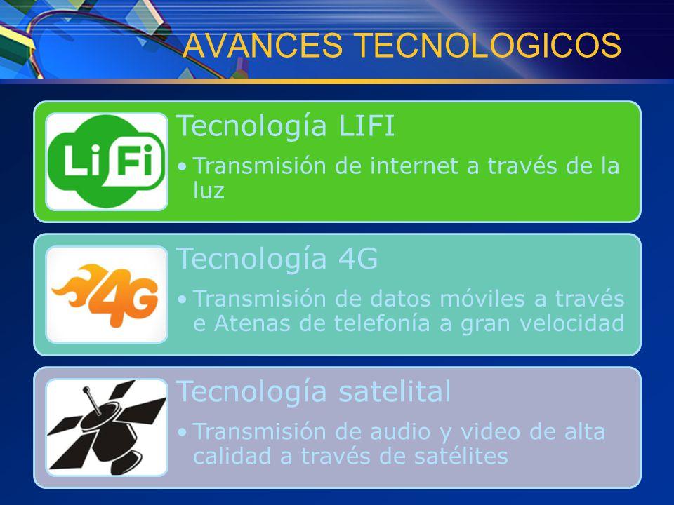 AVANCES TECNOLOGICOS Tecnología LIFI Transmisión de internet a través de la luz Tecnología 4G Transmisión de datos móviles a través e Atenas de telefonía a gran velocidad Tecnología satelital Transmisión de audio y video de alta calidad a través de satélites