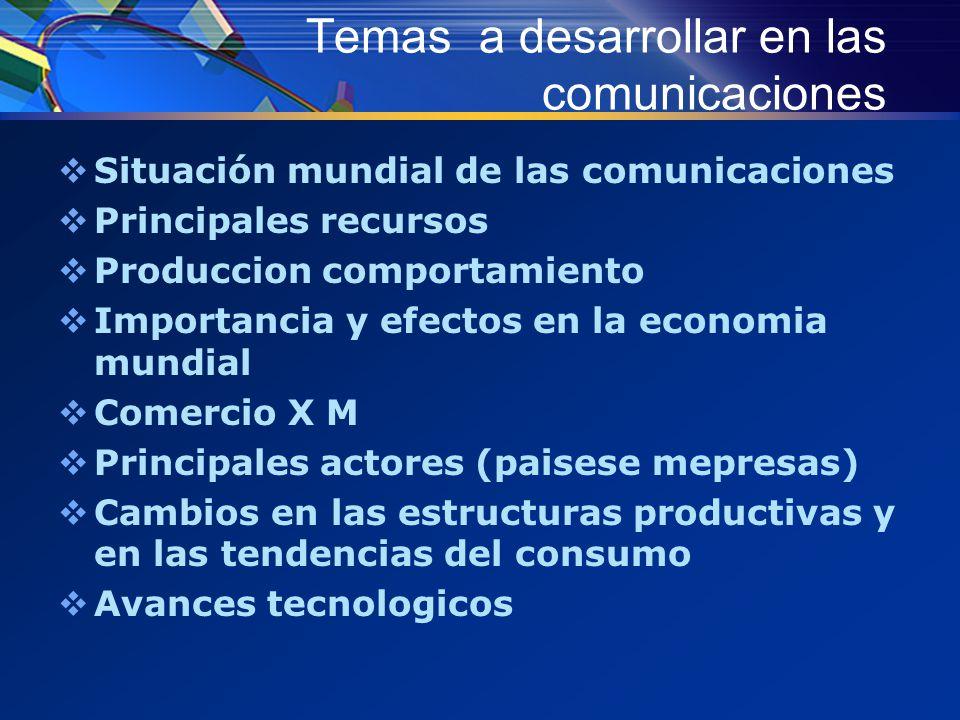 Temas a desarrollar en las comunicaciones  Situación mundial de las comunicaciones  Principales recursos  Produccion comportamiento  Importancia y efectos en la economia mundial  Comercio X M  Principales actores (paisese mepresas)  Cambios en las estructuras productivas y en las tendencias del consumo  Avances tecnologicos