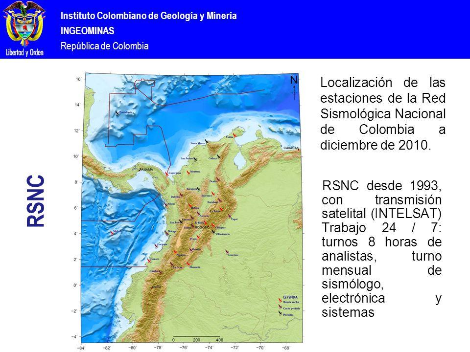Instituto Colombiano de Geología y Minería INGEOMINAS República de Colombia RSNC Localización de las estaciones de la Red Sismológica Nacional de Colombia a diciembre de 2010.