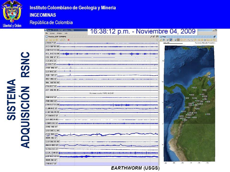 Instituto Colombiano de Geología y Minería INGEOMINAS República de Colombia EARTHWORM (USGS) SISTEMA ADQUISICIÓN RSNC