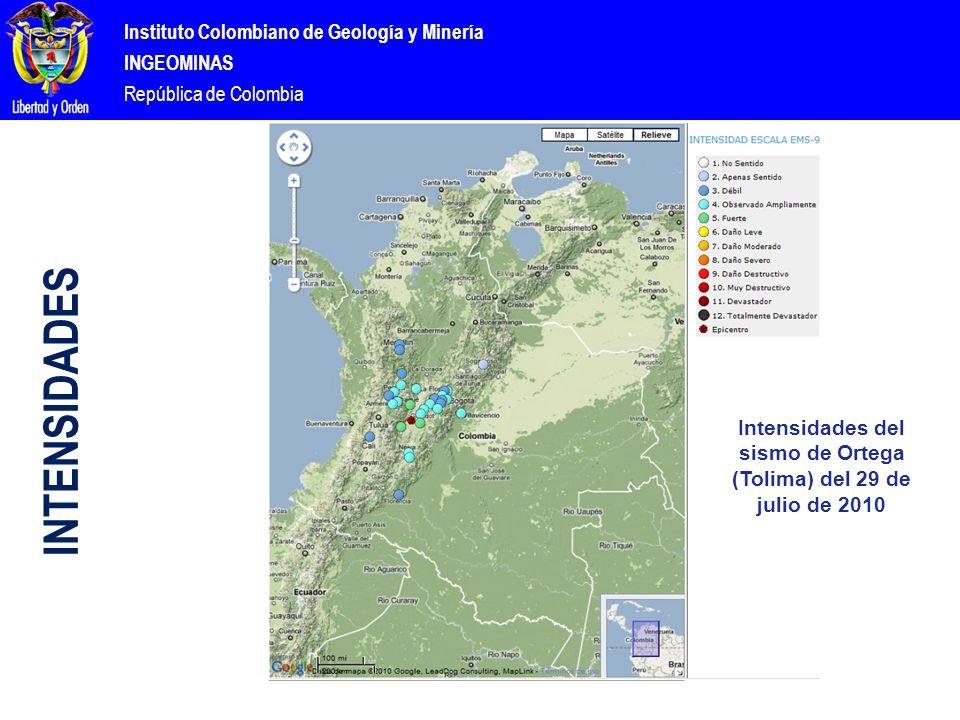 Instituto Colombiano de Geología y Minería INGEOMINAS República de Colombia Intensidades del sismo de Ortega (Tolima) del 29 de julio de 2010 INTENSIDADES