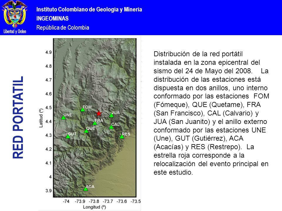 Instituto Colombiano de Geología y Minería INGEOMINAS República de Colombia RED PORTATIL Distribución de la red portátil instalada en la zona epicentral del sismo del 24 de Mayo del 2008.