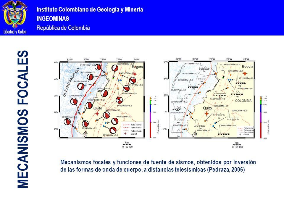 Instituto Colombiano de Geología y Minería INGEOMINAS República de Colombia Mecanismos focales y funciones de fuente de sismos, obtenidos por inversión de las formas de onda de cuerpo, a distancias telesísmicas (Pedraza, 2006) MECANISMOS FOCALES