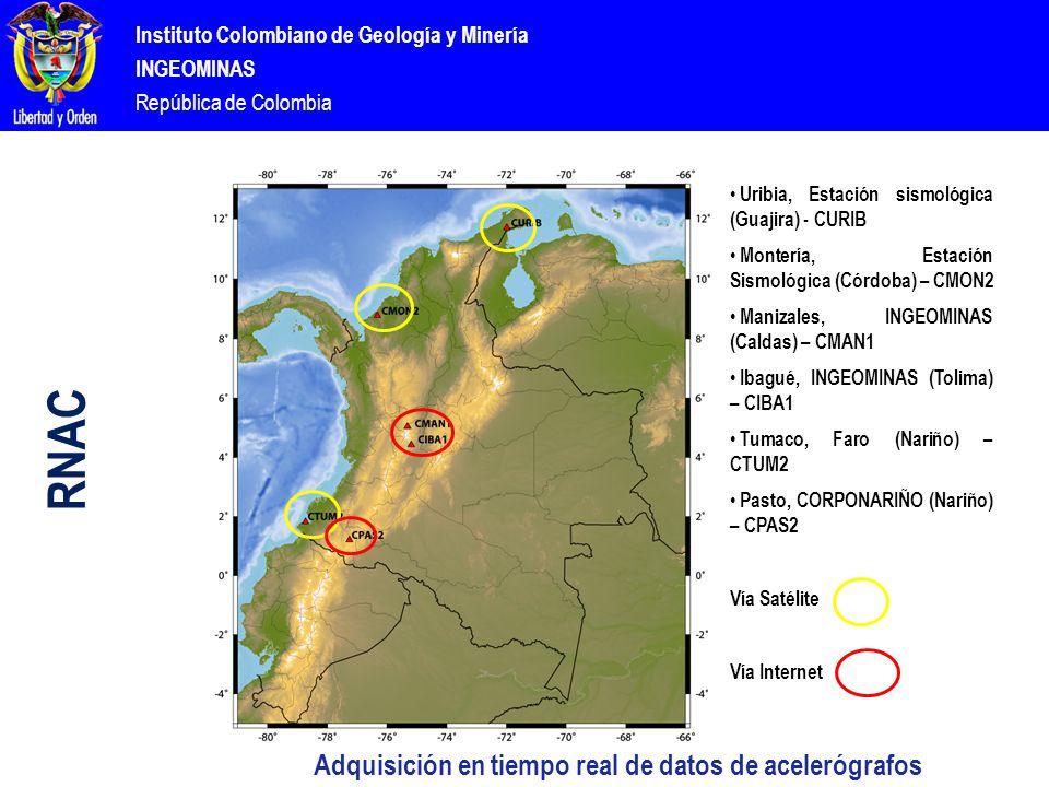 Instituto Colombiano de Geología y Minería INGEOMINAS República de Colombia Uribia, Estación sismológica (Guajira) - CURIB Montería, Estación Sismológica (Córdoba) – CMON2 Manizales, INGEOMINAS (Caldas) – CMAN1 Ibagué, INGEOMINAS (Tolima) – CIBA1 Tumaco, Faro (Nariño) – CTUM2 Pasto, CORPONARIÑO (Nariño) – CPAS2 Vía Satélite Vía Internet Adquisición en tiempo real de datos de acelerógrafos RNAC