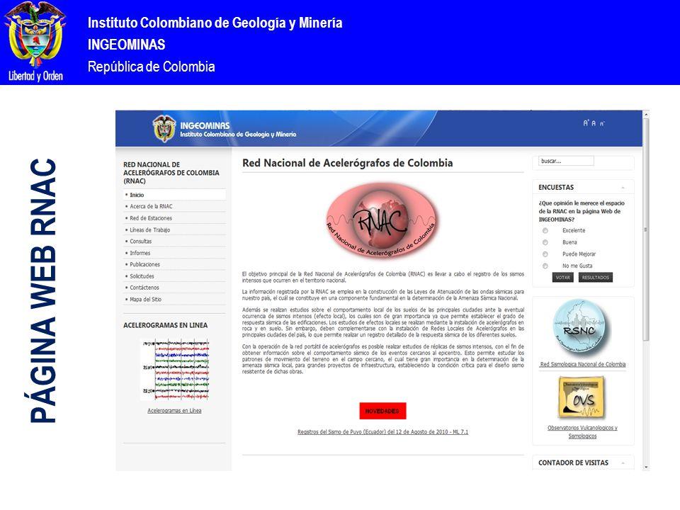 Instituto Colombiano de Geología y Minería INGEOMINAS República de Colombia PÁGINA WEB RNAC