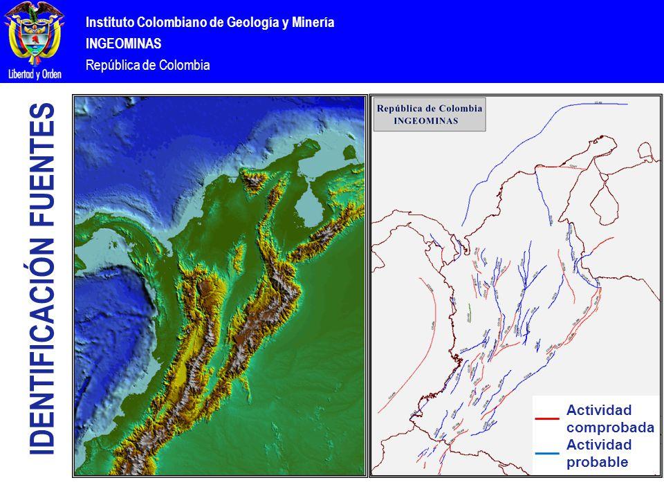 Instituto Colombiano de Geología y Minería INGEOMINAS República de Colombia Actividad comprobada Actividad probable IDENTIFICACIÓN FUENTES