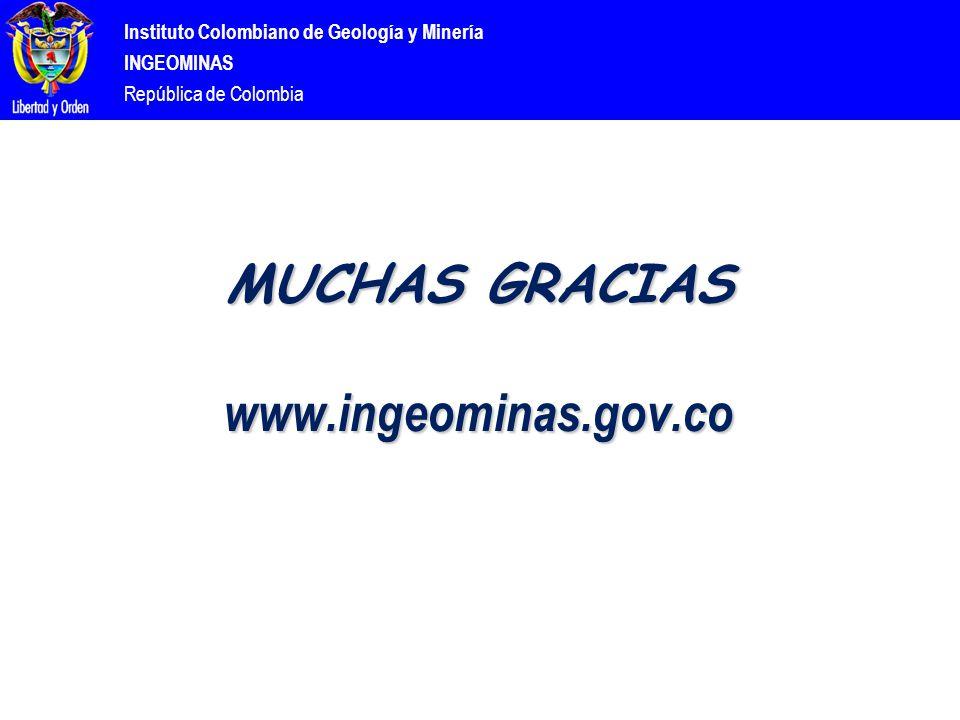 Instituto Colombiano de Geología y Minería INGEOMINAS República de Colombia MUCHAS GRACIAS www.ingeominas.gov.co