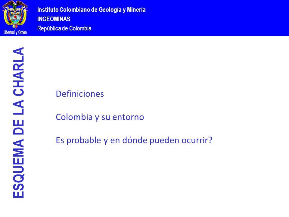 Instituto Colombiano de Geología y Minería INGEOMINAS República de Colombia ESQUEMA DE LA CHARLA Definiciones Colombia y su entorno Es probable y en dónde pueden ocurrir