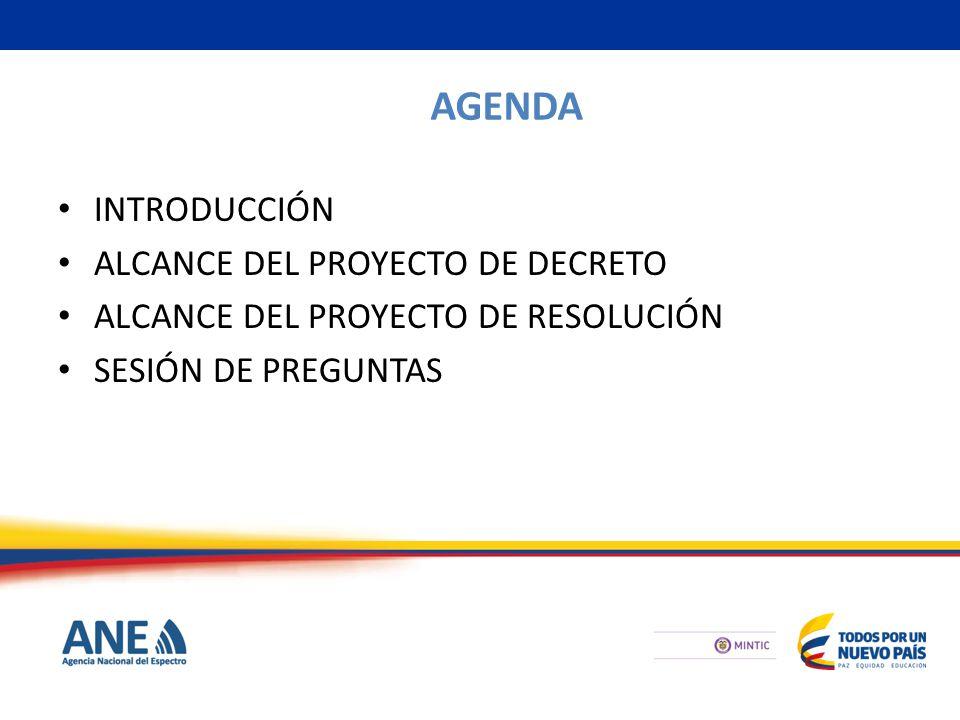 AGENDA INTRODUCCIÓN ALCANCE DEL PROYECTO DE DECRETO ALCANCE DEL PROYECTO DE RESOLUCIÓN SESIÓN DE PREGUNTAS