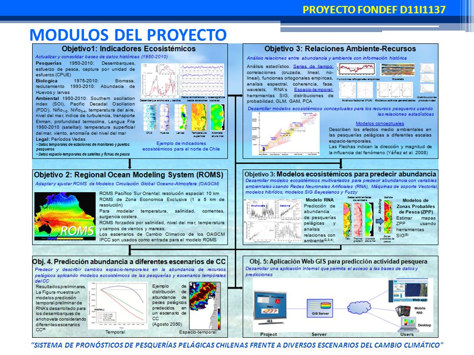 MODULOS DEL PROYECTO SISTEMA DE PRONÓSTICOS DE PESQUERÍAS PELÁGICAS CHILENAS FRENTE A DIVERSOS ESCENARIOS DEL CAMBIO CLIMÁTICO PROYECTO FONDEF D11I1137