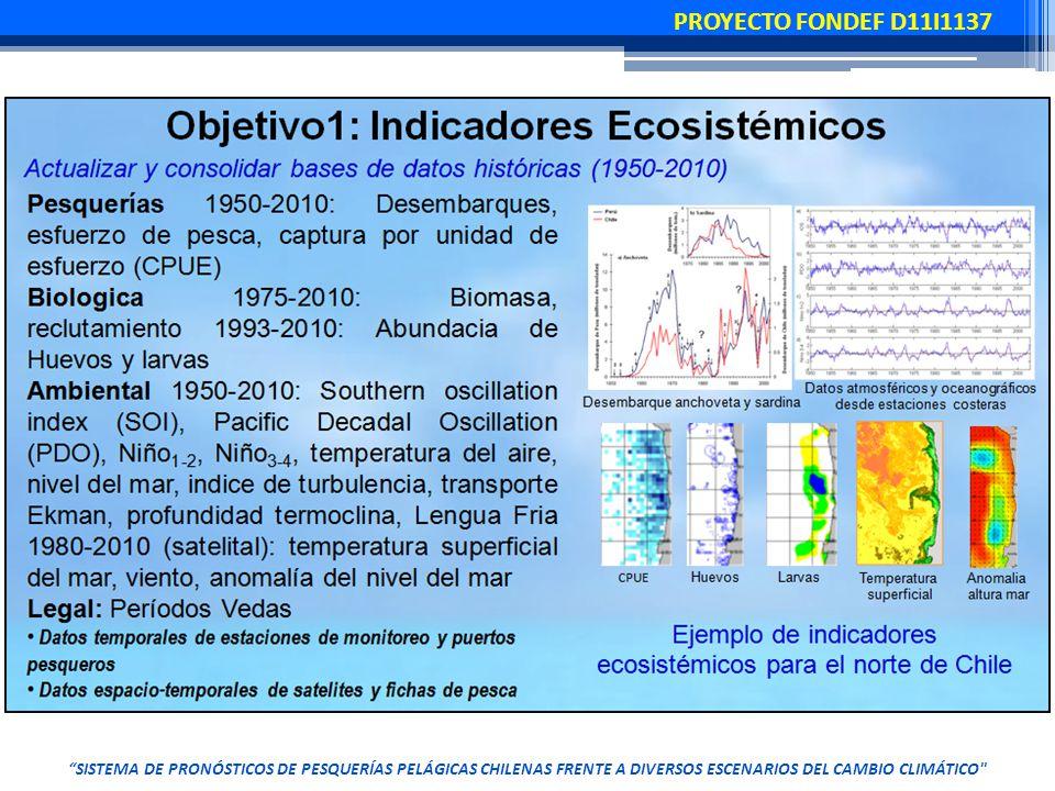 SISTEMA DE PRONÓSTICOS DE PESQUERÍAS PELÁGICAS CHILENAS FRENTE A DIVERSOS ESCENARIOS DEL CAMBIO CLIMÁTICO PROYECTO FONDEF D11I1137