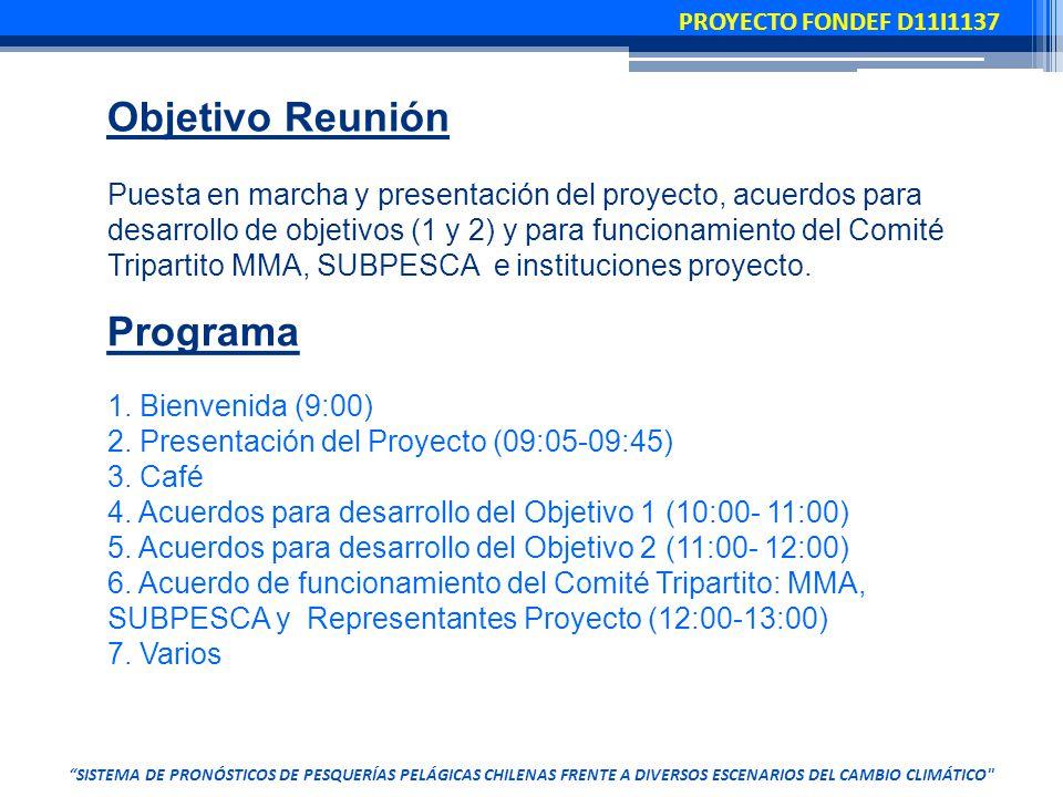 Programa 1. Bienvenida (9:00) 2. Presentación del Proyecto (09:05-09:45) 3.
