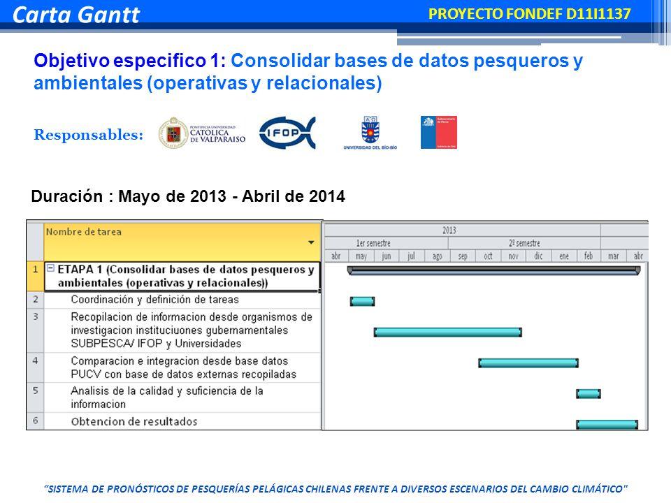 Carta Gantt Objetivo especifico 1: Consolidar bases de datos pesqueros y ambientales (operativas y relacionales) Duración : Mayo de 2013 - Abril de 2014 Responsables: PROYECTO FONDEF D11I1137 SISTEMA DE PRONÓSTICOS DE PESQUERÍAS PELÁGICAS CHILENAS FRENTE A DIVERSOS ESCENARIOS DEL CAMBIO CLIMÁTICO