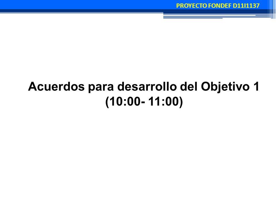 PROYECTO FONDEF D11I1137 Acuerdos para desarrollo del Objetivo 1 (10:00- 11:00)