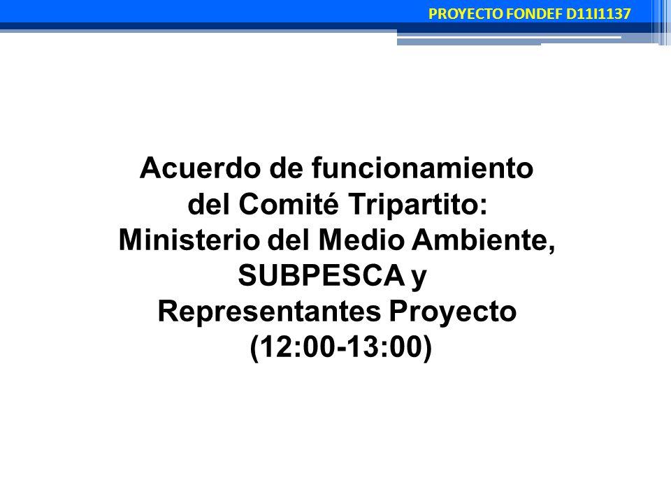 PROYECTO FONDEF D11I1137 Acuerdo de funcionamiento del Comité Tripartito: Ministerio del Medio Ambiente, SUBPESCA y Representantes Proyecto (12:00-13:00)
