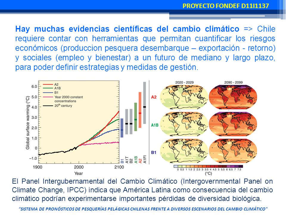 Hay muchas evidencias científicas del cambio climático => Chile requiere contar con herramientas que permitan cuantificar los riesgos económicos (produccion pesquera desembarque – exportación - retorno) y sociales (empleo y bienestar) a un futuro de mediano y largo plazo, para poder definir estrategias y medidas de gestión.