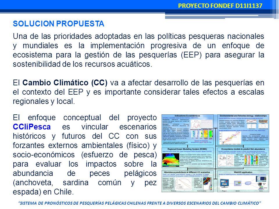 SISTEMA DE PRONÓSTICOS DE PESQUERÍAS PELÁGICAS CHILENAS FRENTE A DIVERSOS ESCENARIOS DEL CAMBIO CLIMÁTICO Una de las prioridades adoptadas en las políticas pesqueras nacionales y mundiales es la implementación progresiva de un enfoque de ecosistema para la gestión de las pesquerías (EEP) para asegurar la sostenibilidad de los recursos acuáticos.