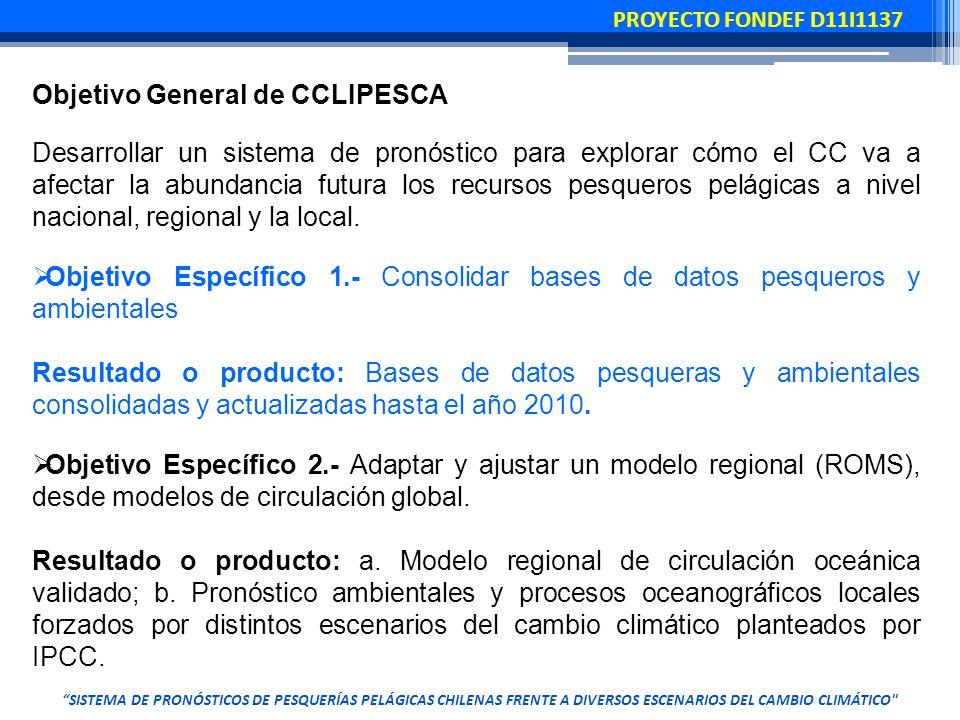 Objetivo General de CCLIPESCA Desarrollar un sistema de pronóstico para explorar cómo el CC va a afectar la abundancia futura los recursos pesqueros pelágicas a nivel nacional, regional y la local.