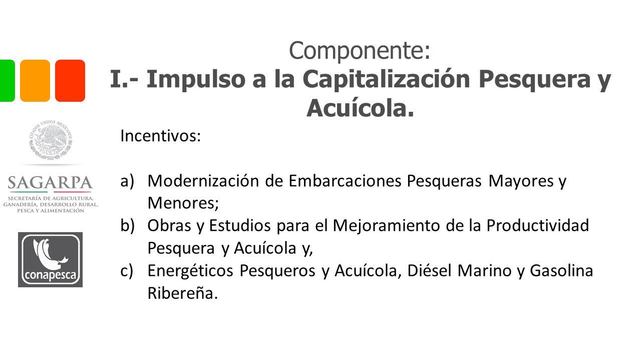 Componente: I.- Impulso a la Capitalización Pesquera y Acuícola.