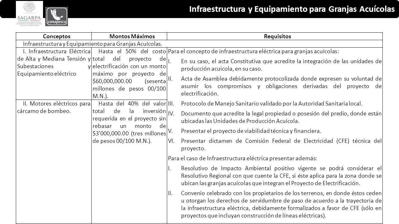 Infraestructura y Equipamiento para Granjas Acuícolas ConceptosMontos MáximosRequisitos Infraestructura y Equipamiento para Granjas Acuícolas.