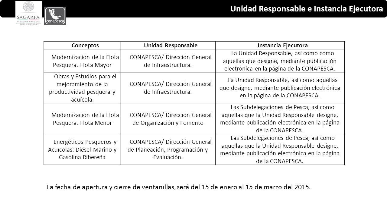 Unidad Responsable e Instancia Ejecutora ConceptosUnidad ResponsableInstancia Ejecutora Modernización de la Flota Pesquera.