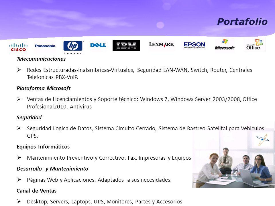 Portafolio Telecomunicaciones  Redes Estructuradas-Inalambricas-Virtuales, Seguridad LAN-WAN, Switch, Router, Centrales Telefonicas PBX-VoIP.
