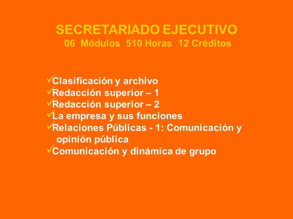 Clasificación y archivo Redacción superior – 1 Redacción superior – 2 La empresa y sus funciones Relaciones Públicas - 1: Comunicación y opinión pública Comunicación y dinámica de grupo SECRETARIADO EJECUTIVO 06 Módulos 510 Horas 12 Créditos