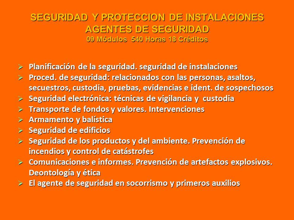 SEGURIDAD Y PROTECCION DE INSTALACIONES AGENTES DE SEGURIDAD 09 Módulos 540 Horas 18 Créditos  Planificación de la seguridad.