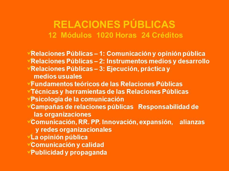 Relaciones Públicas – 1: Comunicación y opinión pública Relaciones Públicas – 2: Instrumentos medios y desarrollo Relaciones Públicas – 3: Ejecución, práctica y medios usuales Fundamentos teóricos de las Relaciones Públicas Técnicas y herramientas de las Relaciones Públicas Psicología de la comunicación Campañas de relaciones públicas Responsabilidad de las organizaciones Comunicación, RR.