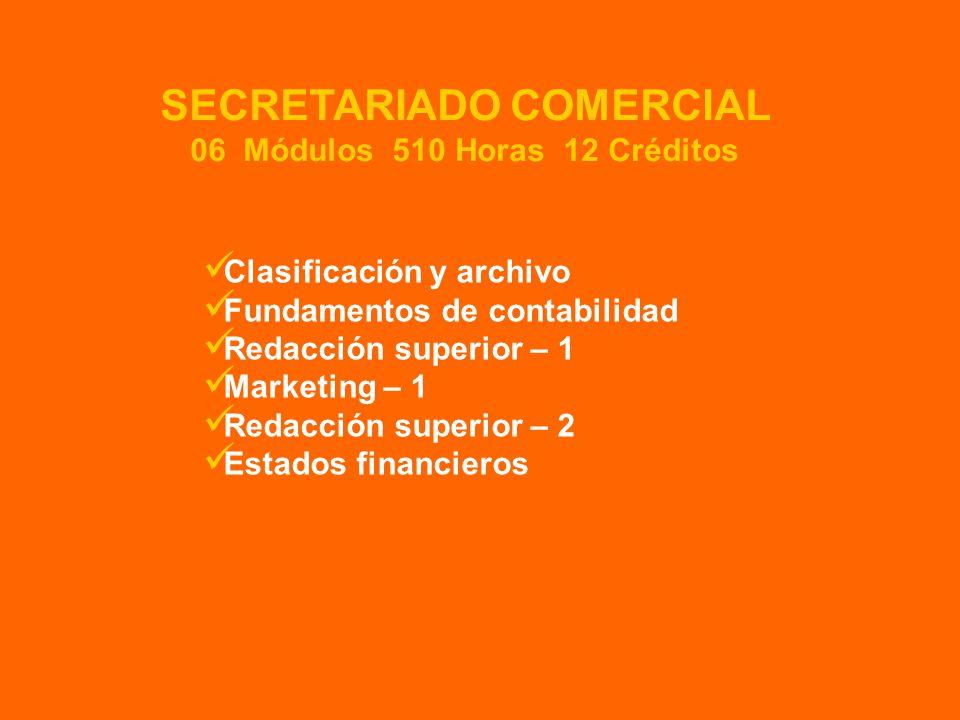 Clasificación y archivo Fundamentos de contabilidad Redacción superior – 1 Marketing – 1 Redacción superior – 2 Estados financieros SECRETARIADO COMERCIAL 06 Módulos 510 Horas 12 Créditos