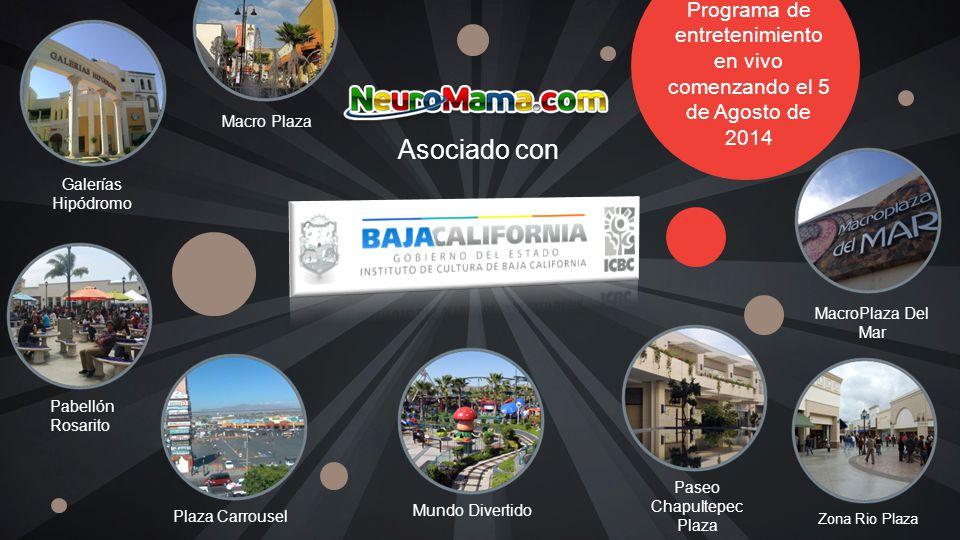 Asociado con Programa de entretenimiento en vivo comenzando el 5 de Agosto de 2014 Galerías Hipódromo Paseo Chapultepec Plaza Zona Rio Plaza MacroPlaza Del Mar Plaza Carrousel Mundo Divertido Pabellón Rosarito Macro Plaza