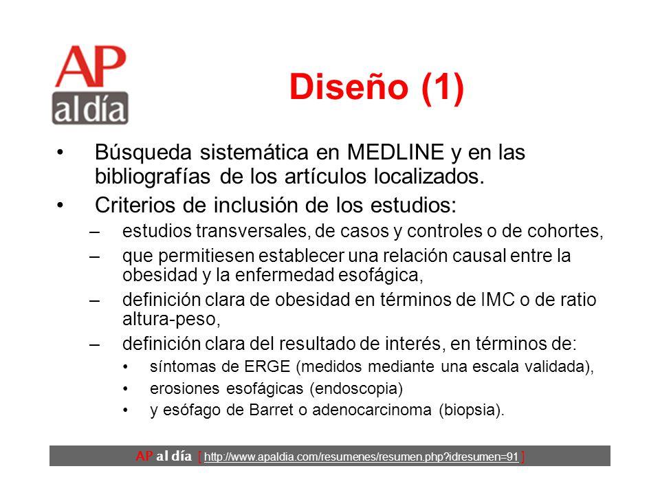 AP al día [ http://www.apaldia.com/resumenes/resumen.php idresumen=91 ] Objetivos Evaluar, cuantificar y resumir la asociación entre la obesidad y la ERGE.