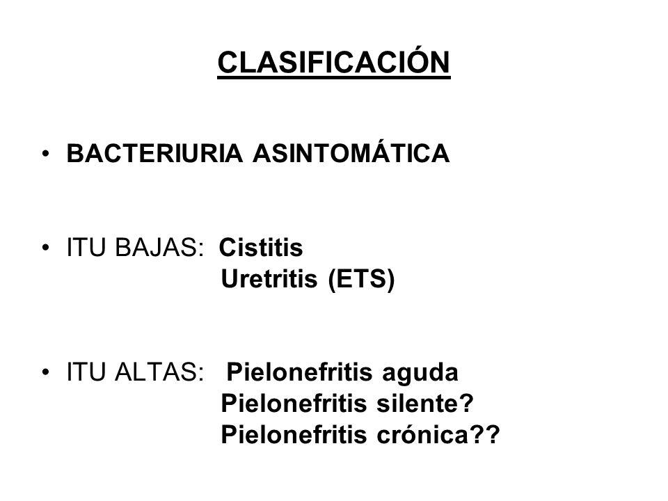 CLASIFICACIÓN BACTERIURIA ASINTOMÁTICA ITU BAJAS: Cistitis Uretritis (ETS) ITU ALTAS: Pielonefritis aguda Pielonefritis silente? Pielonefritis crónica