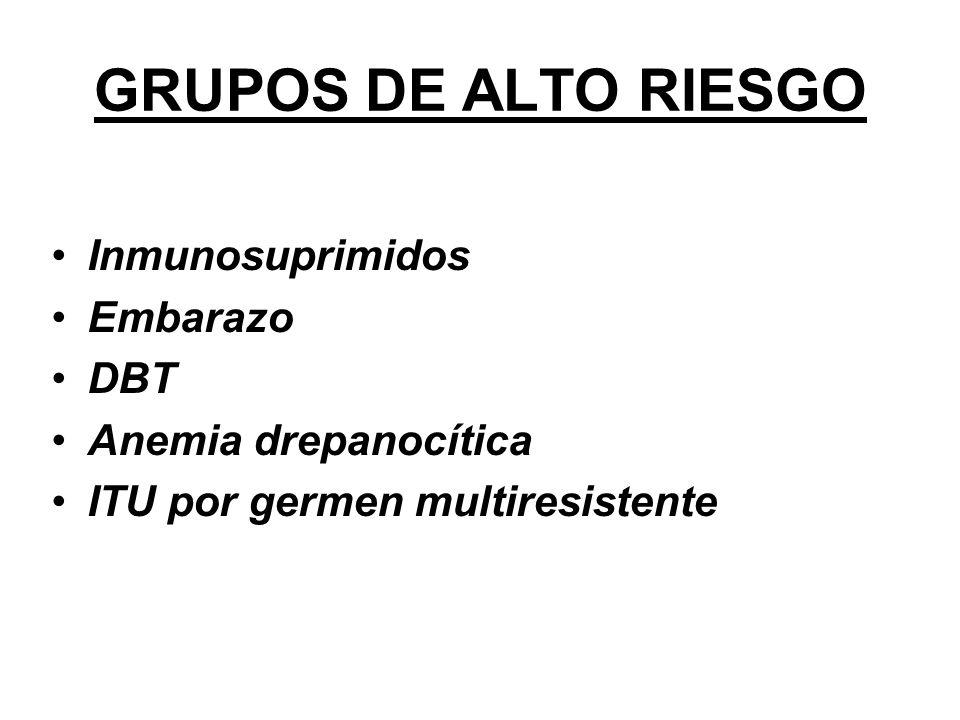 GRUPOS DE ALTO RIESGO Inmunosuprimidos Embarazo DBT Anemia drepanocítica ITU por germen multiresistente